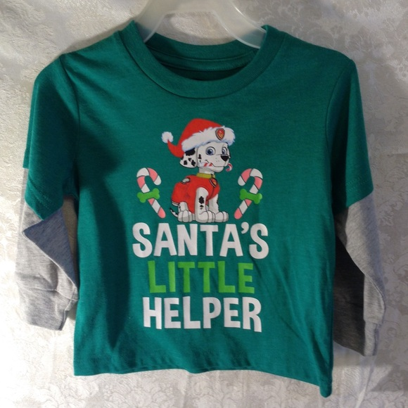 🛍3/$10 Paw Patrol Santa's Little Helper L/S Green NWT